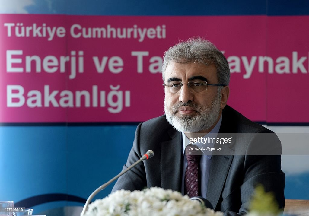 Turkish Energy Minister <a gi-track='captionPersonalityLinkClicked' href=/galleries/search?phrase=Taner+Yildiz&family=editorial&specificpeople=5871509 ng-click='$event.stopPropagation()'>Taner Yildiz</a> holds a joint press conference with International Energy Agency Executive Director Fatih Birol (not seen) in Istanbul, Turkey on March 26, 2015.