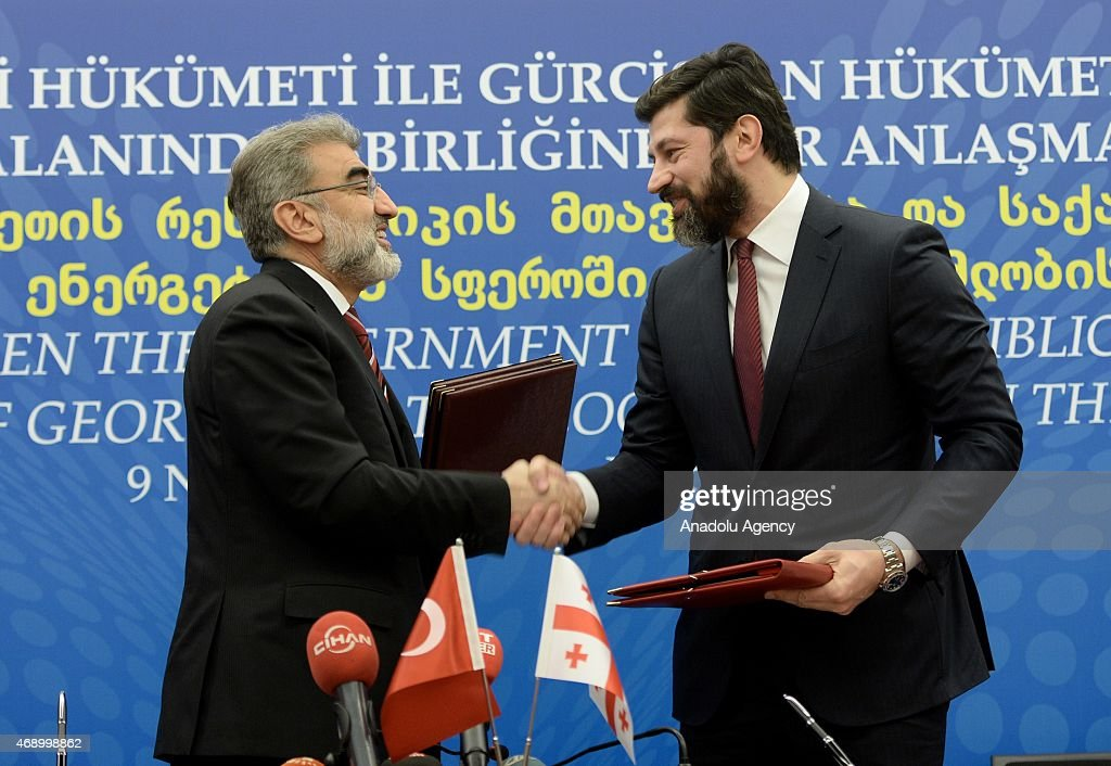 Turkish Energy Minister <a gi-track='captionPersonalityLinkClicked' href=/galleries/search?phrase=Taner+Yildiz&family=editorial&specificpeople=5871509 ng-click='$event.stopPropagation()'>Taner Yildiz</a> (L) shake hands with Georgian Deputy Prime Minister and Energy Minister <a gi-track='captionPersonalityLinkClicked' href=/galleries/search?phrase=Kakha+Kaladze&family=editorial&specificpeople=646904 ng-click='$event.stopPropagation()'>Kakha Kaladze</a> (R) after signing of agreement on cooperation in field of energy between Turkey and Georgia on April 9, 2015 in Istanbul, Turkey.