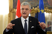 Turkish EU Minister and Chief Negotiator Volkan Bozkir speaks during a press conference with Foreign Minister of Luxembourg Jean Asselborn after a...