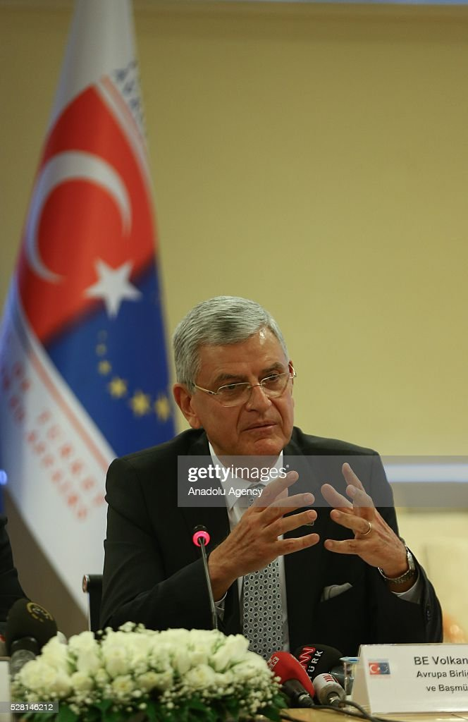 Turkish EU Minister Volkan Bozkir attends a press conference with Turkish Foreign Minister Mevlut Cavusoglu (not seen) in Ankara, Turkey on May 4, 2016.