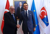 Turkish European Union Affairs Minister and Chief Negotiator Omer Celik welcomes the President of the Council of Europe Parliamentary Assembly Pedro...