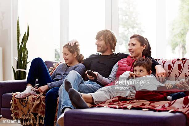 Turkish family watching tv