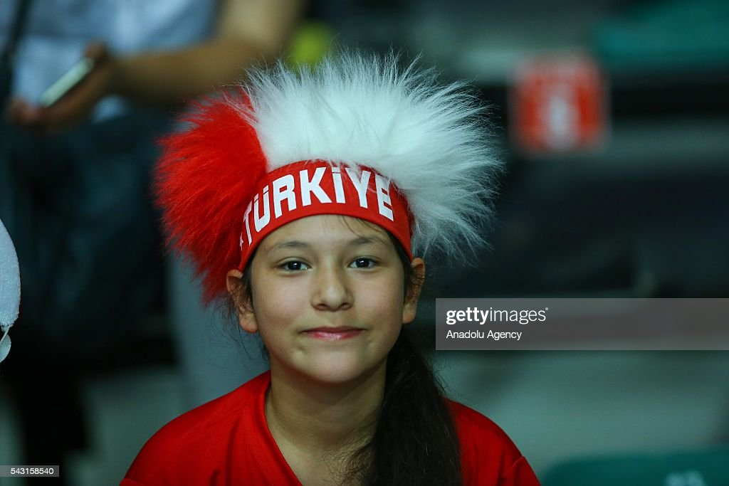 A Turkish fan is seen during 2016 FIVB Volleyball World Grand Prix Women's match between Turkey and Brazil at the TVF Baskent Sports Hall in Ankara, Turkey on June 26, 2016.