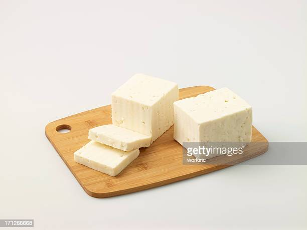 Turkish Feta Cheese On Chopping Board
