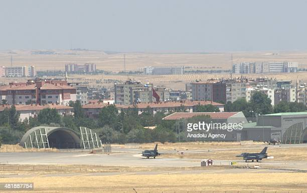Turkish fighter jets land at the 8th Main Jet Air Base Command of the Turkish Air Force in southeastern province Diyarbakir on July 25 2015 Turkish...