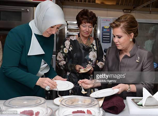 Turkish first lady Hayrunnisa Gul welcomes Grand Duchess Maria Teresa of Luxembourg at Cankaya Kosku on November 19 2013 in Ankara First lady Gul...