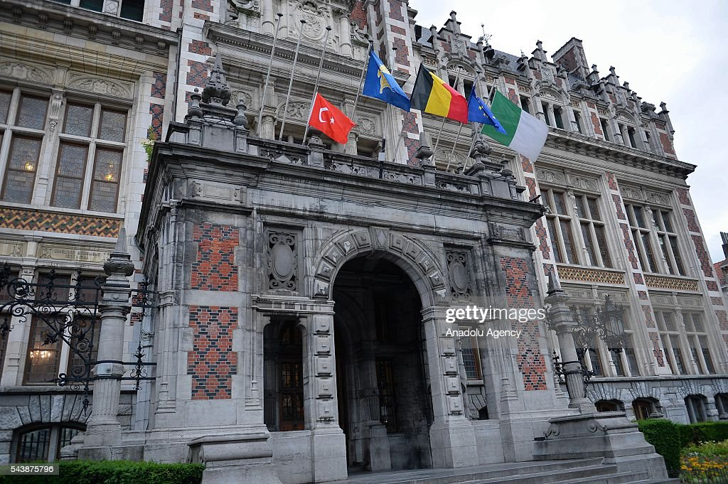 Turkish flag flies at half mast in front of the Schaerbeek Municipality of Brussels in Belgium on June 30, 2016 following the recent terrorist attack at Istanbul Ataturk International Airport.
