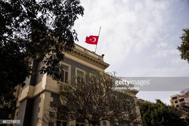 Turkish flag flies half mast to pay respect to the victims of two church bombings in Egypt that killed at least 43 people and injured scores at the...