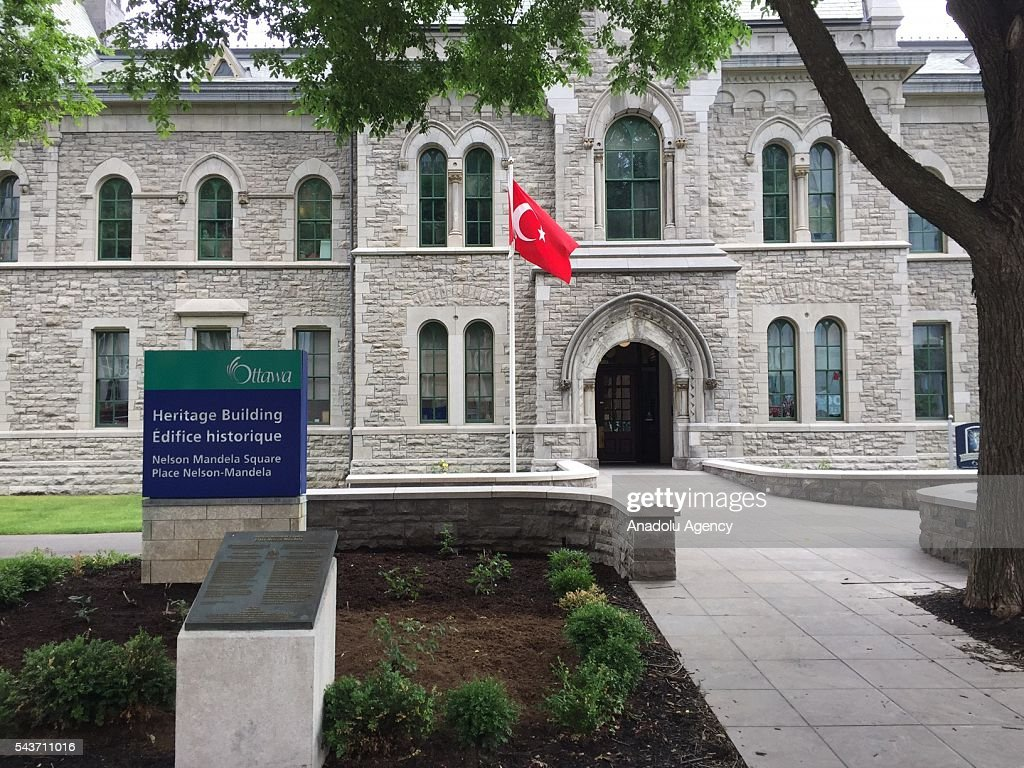 Turkish flag fly in front Ottowa City hall following the recent terror attack at Istanbul Ataturk Airport, on June 29, 2016 in Ottowa, Canada.