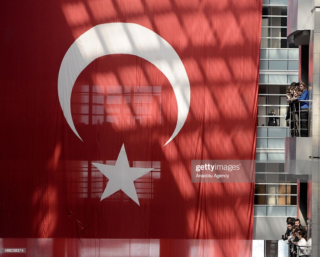 Turkish flag hangs during the funeral ceremony of Turkish prosecutor Mehmet Selim Kiraz who was shot and critically wounded in an eighthour hostage...