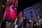 Turkish flag is projected on Galata Tower within the demonstrations staged to protest and to show solidarity against Parallel State/Gulenist...