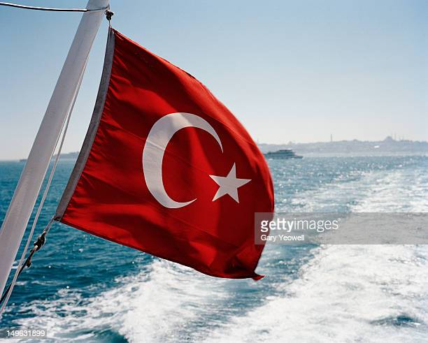 Turkish flag on a ferry on the Bosphorus