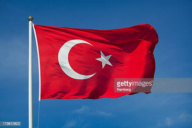 Turkish flag with red and white moon