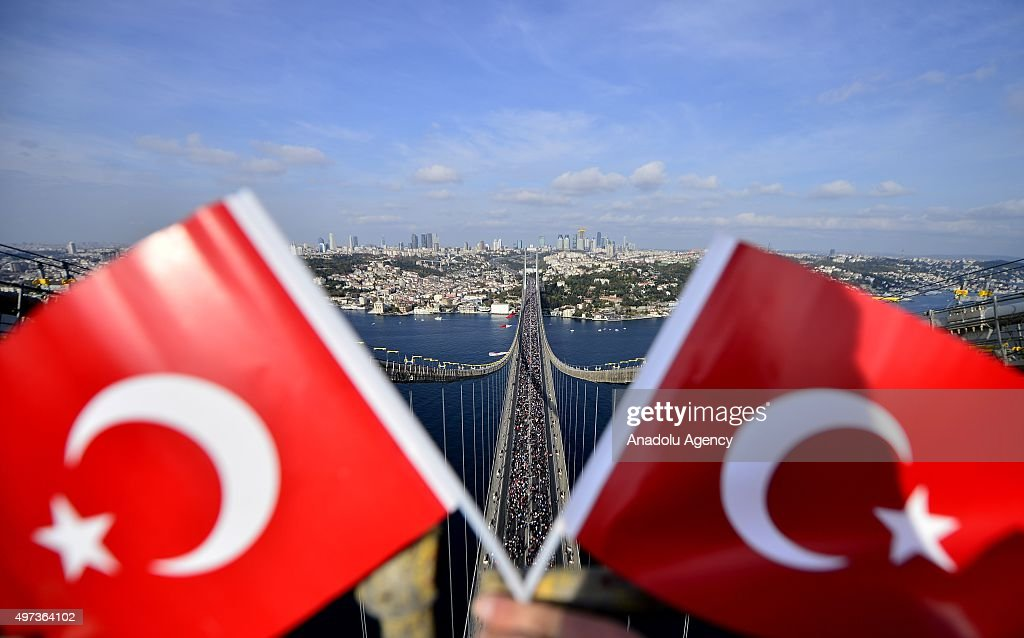 Turkish Flags are seen as athletes and members of the public take part in 37th Vodafone Istanbul Marathon one of the top 10 marathons in the world on...