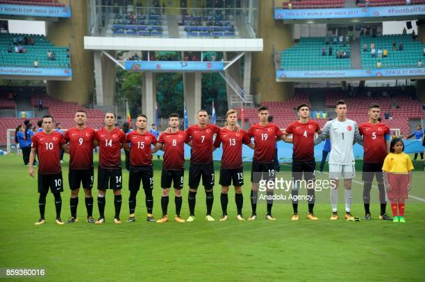 Turkish footballers are seen during the ceremony within a 2017 FIFA U17 World Cup football match between Turkey U17 and Mali U17 in Mumbai India on...