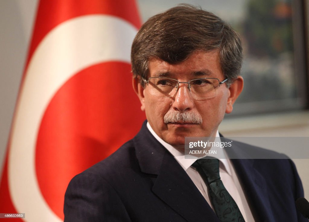 Turkish Foregin Minister <a gi-track='captionPersonalityLinkClicked' href=/galleries/search?phrase=Ahmet+Davutoglu&family=editorial&specificpeople=4940018 ng-click='$event.stopPropagation()'>Ahmet Davutoglu</a> gives a press conference with his Sudanese counterpart in Ankara on April 25, 2014. AFP PHOTO / ADEM ALTAN