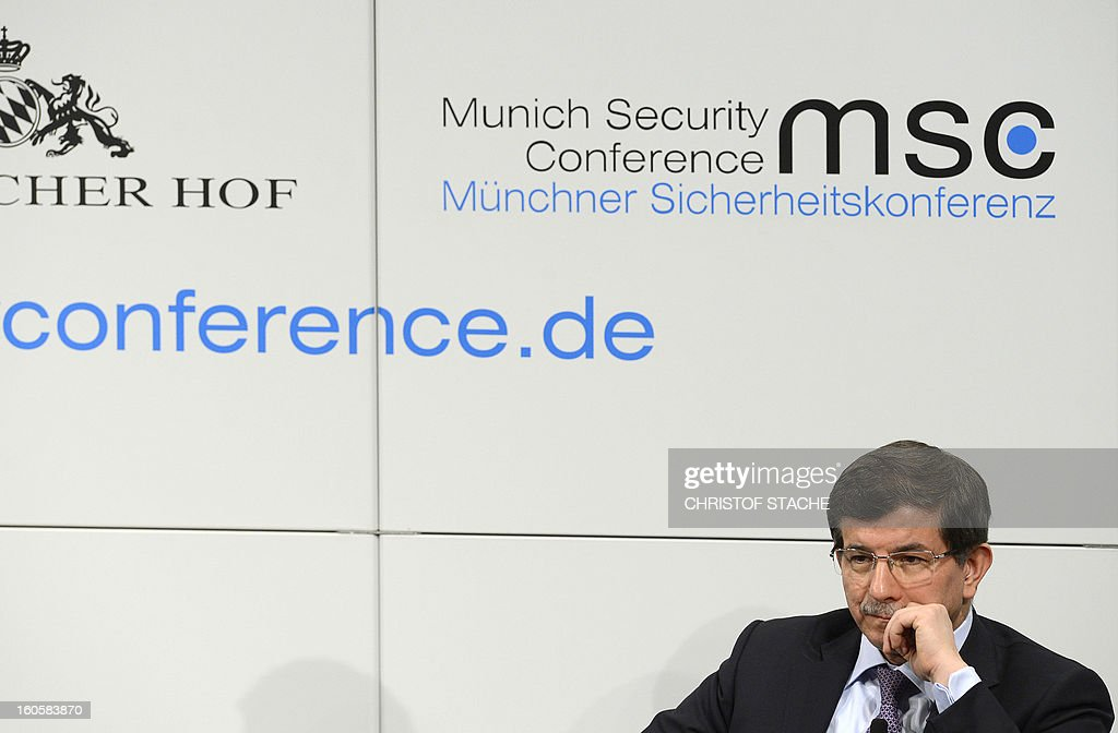 Turkish Foreign Minister Ahmet Davutoglu follows a podium discussion on the third day of the 49th Munich Security Conference on February 3, 2013 in Munich, southern Germany as world leaders, ministers and top military gather for talks with the spotlight on Syria, Mali and Iran.