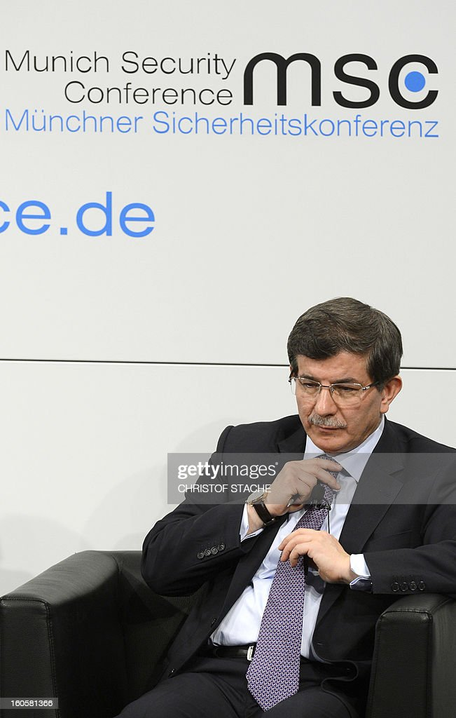 Turkish Foreign Minister Ahmet Davutoglu waits ahead a podium discussion on the third day of the 49th Munich Security Conference on February 3, 2013 in Munich, southern Germany as world leaders, ministers and top military gather for talks with the spotlight on Syria, Mali and Iran.