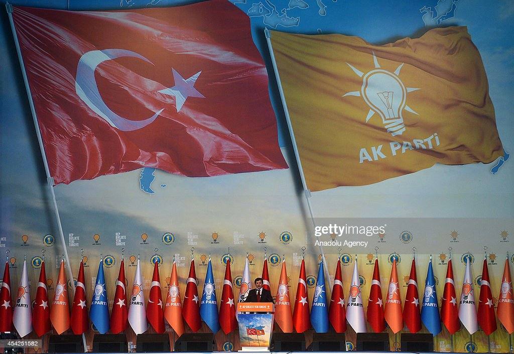 Turkish Foreign Minister and new chairman of the Justice and Development Party (AK Party) Ahmet Davutoglu makes his speech during 2014 AK Party Extraordinary Congress at Ankara Arena Stadium in Ankara, Turkey on August 27, 2014. Turkish ruling Justice and Development Party delegates have chosen Foreign Minister Ahmet Davutoglu as party's new chairman.