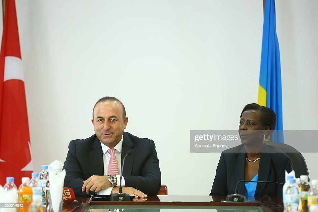 Turkish Foreign Minister Cavusoglu (L) and Minister of Foreign Affairs and Cooperation of Rwanda Louise Mushikiwabo (R) hold a press conference after their meeting in Kigali, Rwanda on May 31, 2016.