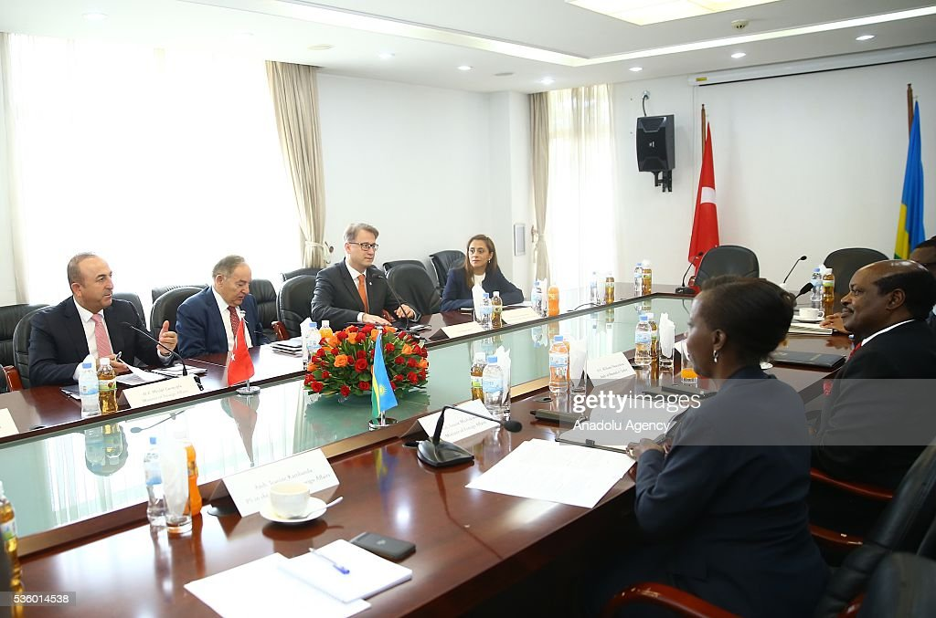 Turkish Foreign Minister Cavusoglu (L) meets with Minister of Foreign Affairs and Cooperation of Rwanda Louise Mushikiwabo (2nd R) in Kigali, Rwanda on May 31, 2016.