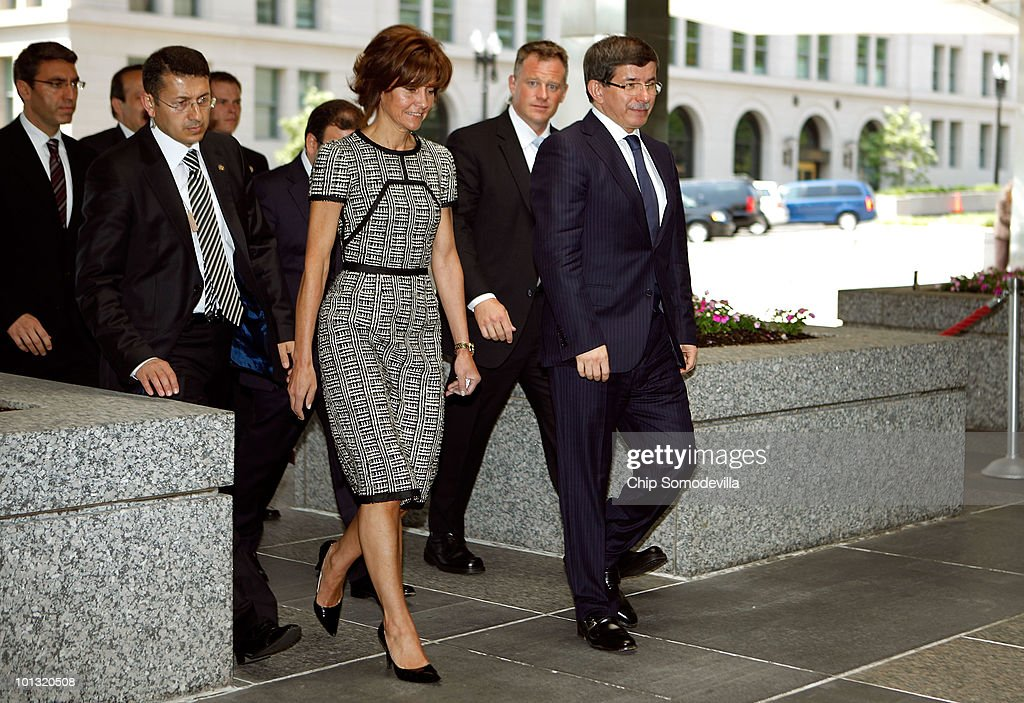 Turkish Foreign Minister H.E. Ahmet Davutoglu (R) arrives at the U.S. State Department June 1, 2010 in Washington, DC. Davutoglu is set to meet with U.S. Secretary of State Hillary Clinton after nine activists were killed Monday during an Israeli commando raid of a six Turkish cargo ships and passenger boats that were carrying 10,000 tons of aid for Gaza in international waters.
