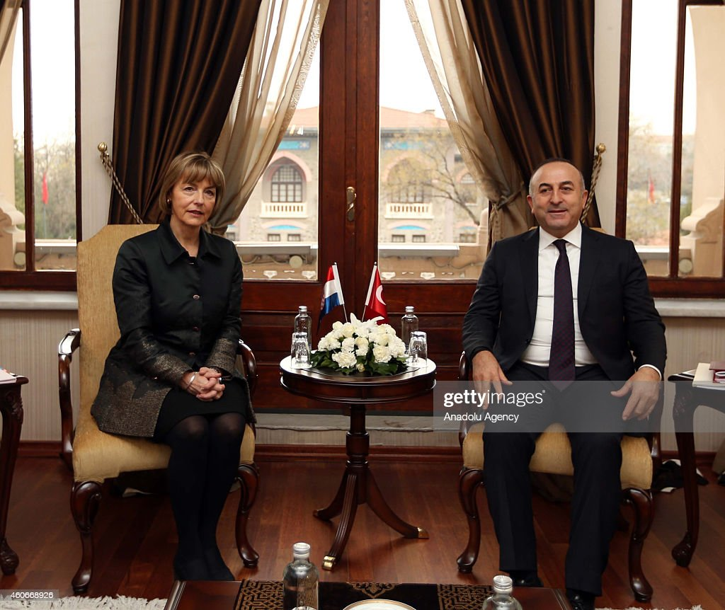 Turkish Foreign Minister Mevlut Cavusoglu (R) and Croatian Foreign Minister Vesna Pusic (L) meet at the Ankara Palace in capital city of Turkey, Ankara on December 19,2014.