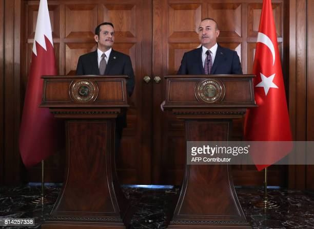 Turkish Foreign Minister Mevlut Cavusoglu and Foreign Minister of Qatar Mohammed bin Abdulrahman bin Jassim AlThani hold a joint press conference...