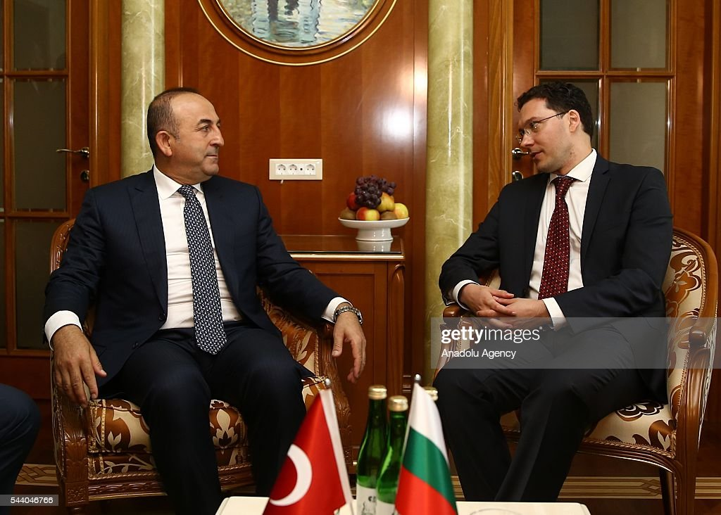 Turkish Foreign Minister Mevlut Cavusoglu (L) and Minister of Foreign Affairs of Bulgaria, Daniel Mitov (R) are seen duri their meeting in Sochi, Russia on July 01, 2016.