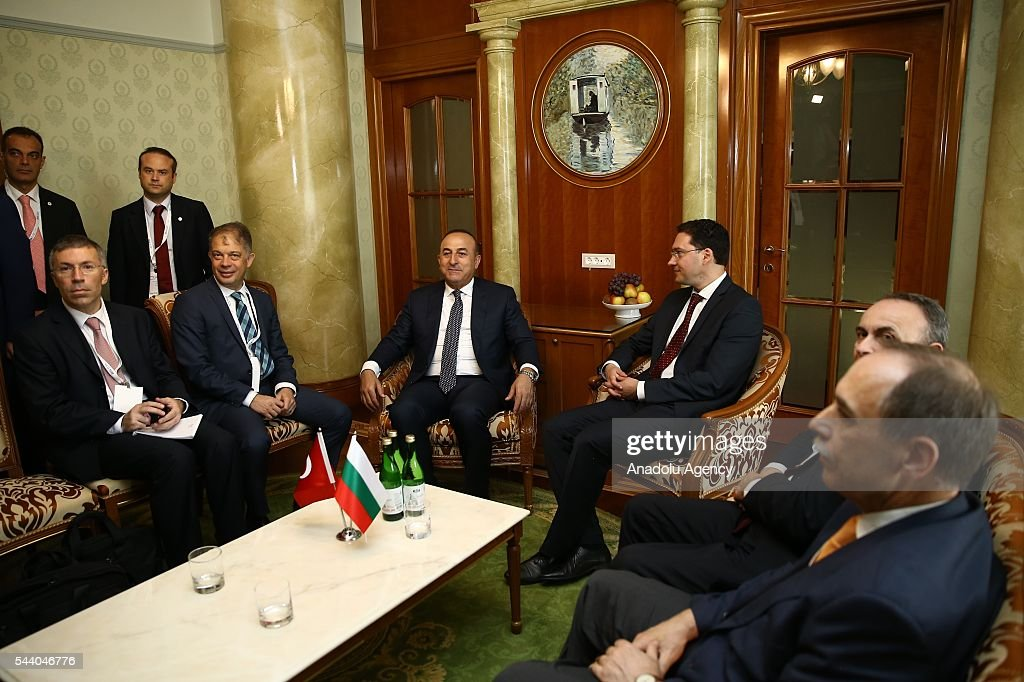 Turkish Foreign Minister Mevlut Cavusoglu (3rd L) and Minister of Foreign Affairs of Bulgaria, Daniel Mitov (2nd R) hold a bilateral meeting in Sochi, Russia on July 01, 2016.