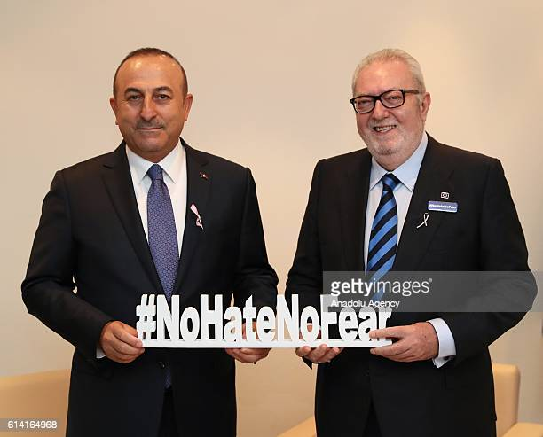 Turkish Foreign Minister Mevlut Cavusoglu and Parliamentary Assembly of Council of Europe President Pedro Agramunt attend a joint press conference in...