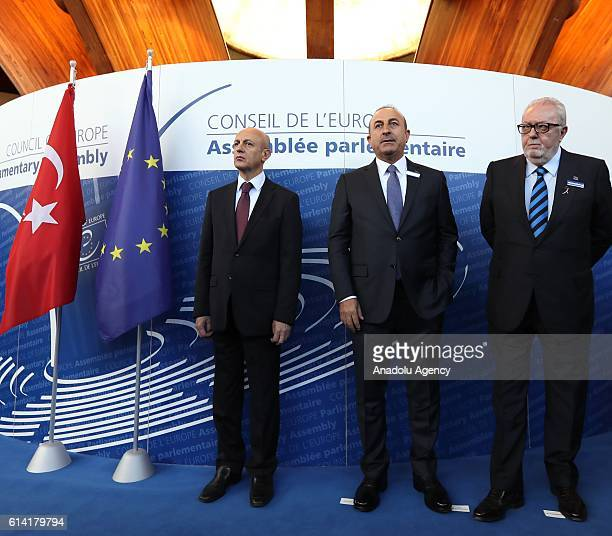 Turkish Foreign Minister Mevlut Cavusoglu and Parliamentary Assembly of Council of Europe President Pedro Agramunt attend to deliver a speech prior...