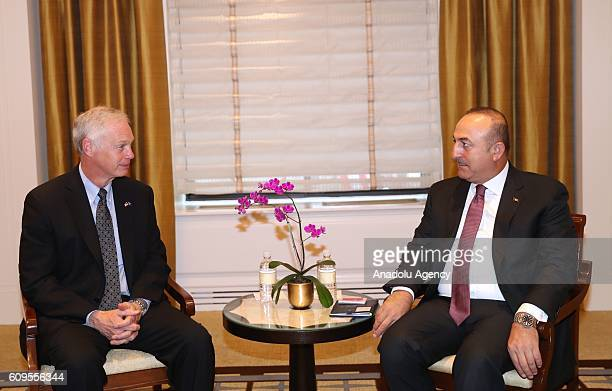 Turkish Foreign Minister Mevlut Cavusoglu and Republican Senator Ron Johnson are seen during their meeting in New York United States on September 21...