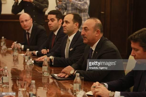 Turkish Foreign Minister Mevlut Cavusoglu and Serbian President Aleksandar Vucic hold a meeting in Belgrade Serbia on December 06 2017