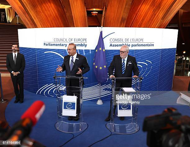 Turkish Foreign Minister Mevlut Cavusoglu and the Parliamentary Assembly of Council of Europe President Pedro Agramunt hold a joint press conference...