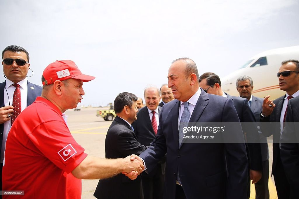 Turkish Foreign Minister Mevlut Cavusoglu arrives in Tripoli, Libya on May 30, 2016.