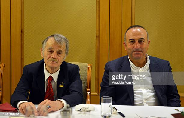 Turkish Foreign Minister Mevlut Cavusoglu attends a dinner along with Mustafa Dzhemilev leader of the Crimean Tatars and members of Mejlis of the...