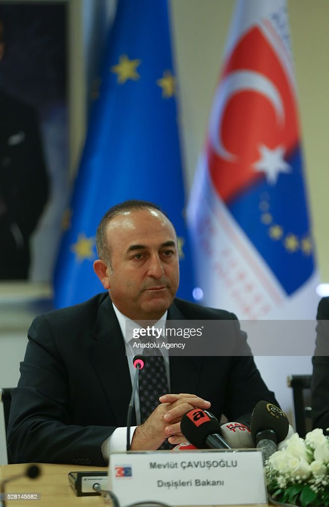 Turkish Foreign Minister Mevlut Cavusoglu attends a press conference with Turkish EU Minister Volkan Bozkir (not seen) in Ankara, Turkey on May 4, 2016.