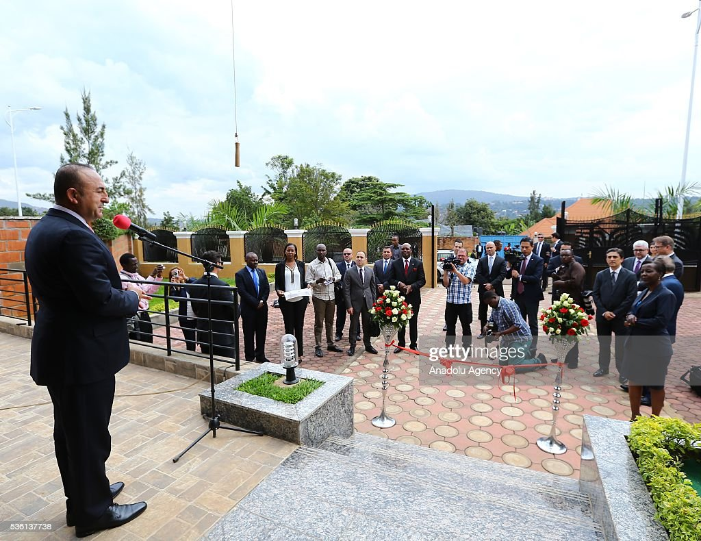 Turkish Foreign Minister Mevlut Cavusoglu delivers a speech during the opening ceremony of the new Rwanda Embassy building in Kigali, Rwanda on May 31, 2016.