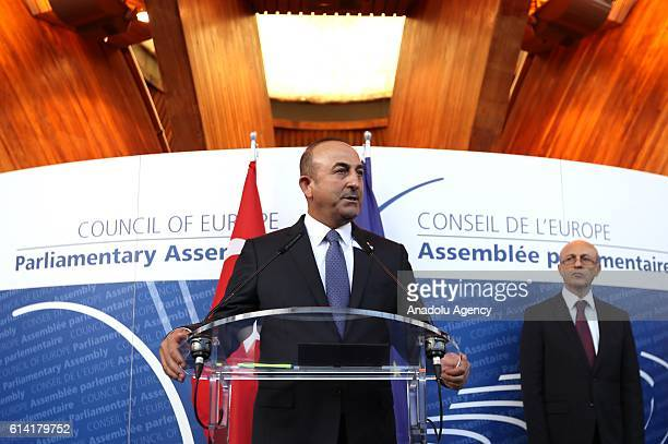 Turkish Foreign Minister Mevlut Cavusoglu delivers a speech with Secretary General of the Council of Europe Thorbjorn Jagland and Parliamentary...