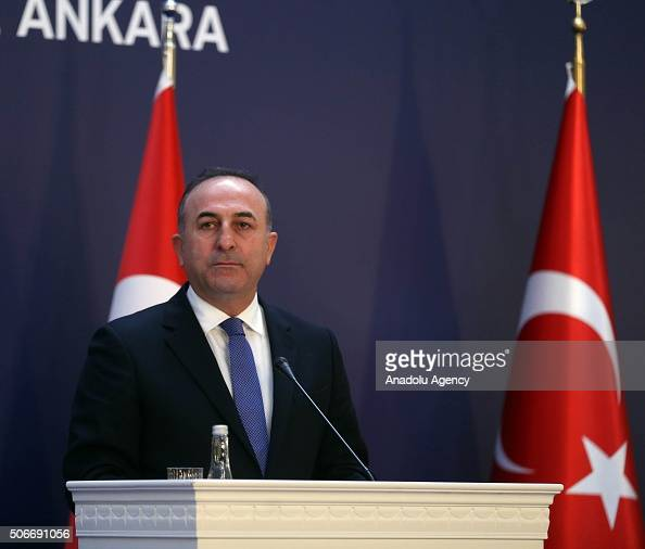 Turkish Foreign Minister Mevlut Cavusoglu holds a press conference at the end of the Turkey European Union ministerial political dialogue meeting in...