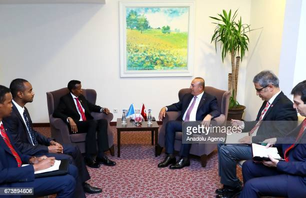 Turkish Foreign Minister Mevlut Cavusoglu holds an interdelegational meeting with Somalian Foreign Minister Yusuf Garaad Omar before TurkeyAfrica...