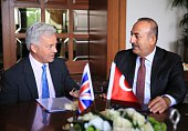 Turkish Foreign Minister Mevlut Cavusoglu meets British Minister of State for the Foreign Office Alan Duncan at Turkish Foreign Ministry in Ankara...
