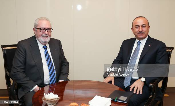 Turkish Foreign Minister Mevlut Cavusoglu meets Parliamentary Assembly of Council of Europe President Pedro Agramunt in Madrid Spain on February 9...