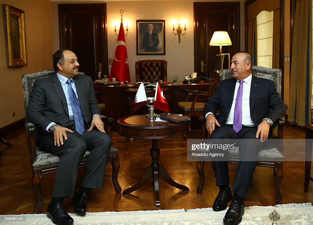 Turkish Foreign Minister Mevlut Cavusoglu (R) meets Qatar's Minister of State for Defense Khalid bin Mohammad Al Attiyah (L) in Ankara, Turkey on May 5, 2016.