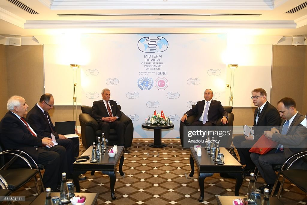 Turkish Foreign Minister Mevlut Cavusoglu (C-R) meets with Deputy Prime Minister of Palestine, Ziad Abu Amr (C-L) during the Midterm Review of the Istanbul Programme of Action is held at Titanic Hotel in Antalya, Turkey on May 28, 2016. The Midterm Review conference for the Istanbul Programme of Action for the Least Developed Countries takes place in Antalya, Turkey from 27-29 May 2016.
