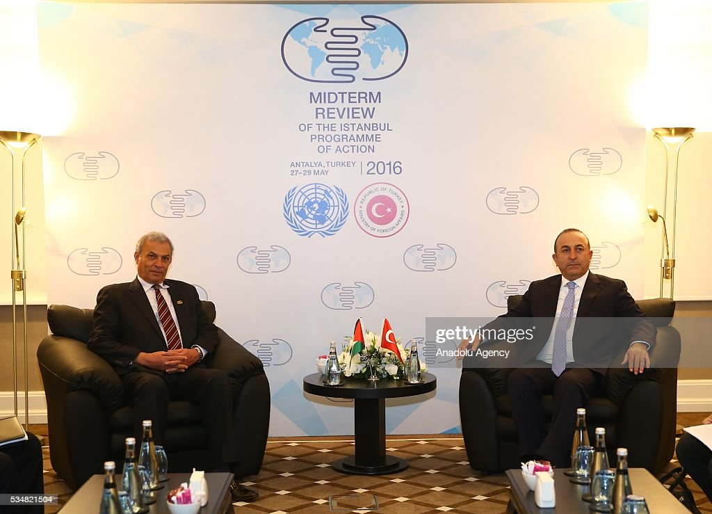Turkish Foreign Minister Mevlut Cavusoglu (R) meets with Deputy Prime Minister of Palestine, Ziad Abu Amr (L) during the Midterm Review of the Istanbul Programme of Action at Titanic Hotel in Antalya, Turkey on May 28, 2016. The Midterm Review conference for the Istanbul Programme of Action for the Least Developed Countries takes place in Antalya, Turkey from 27-29 May 2016.