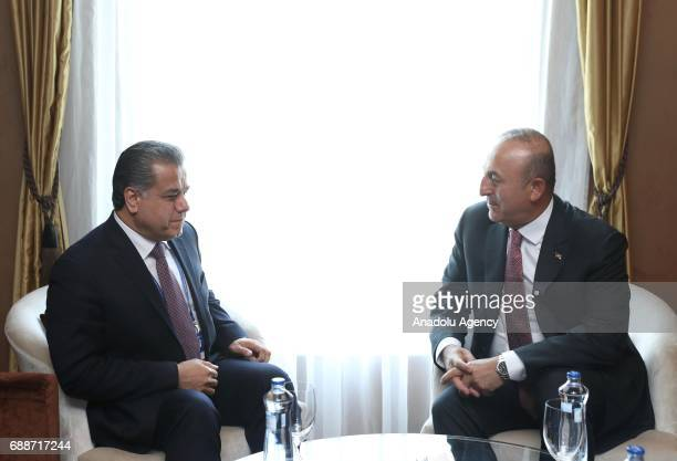 Turkish Foreign Minister Mevlut Cavusoglu meets with Falah Mustafa Bakir Foreign Minister of the Iraqi Kurdish Regional Government as he attends...