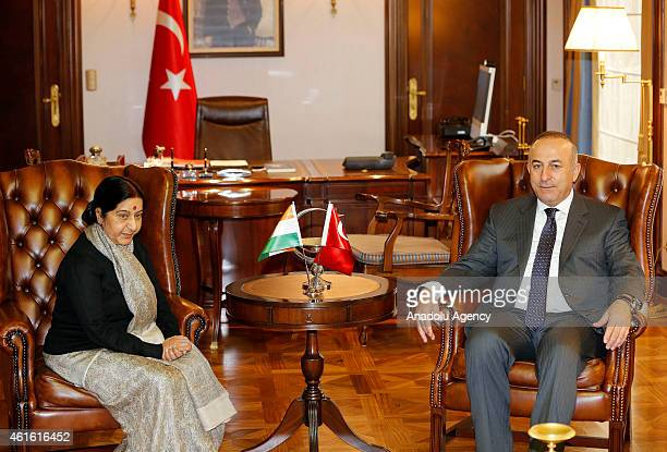 Turkish Foreign Minister Mevlut Cavusoglu meets with Indian Foreign Minister Sushma Swaraj in Ankara Turkey on January 16 2015