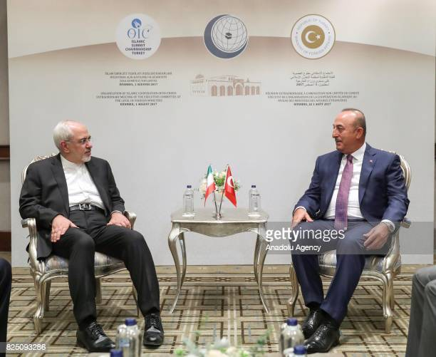 Turkish Foreign Minister Mevlut Cavusoglu meets with Iranian Foreign Minister Javad Zarif as part of the Executive Commitee Meeting of Organization...